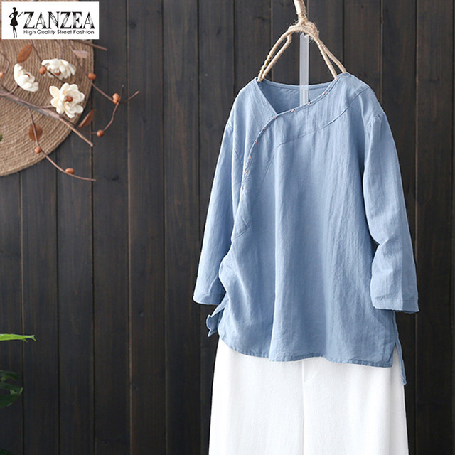 91aeb5f9321 ZANZEA 2019 Chinese Style Linen Top Women V-Neck Blouse Female Long Sleeve  Shirt Vintage Split Cotton Blusa Plus Size Tunic Tops
