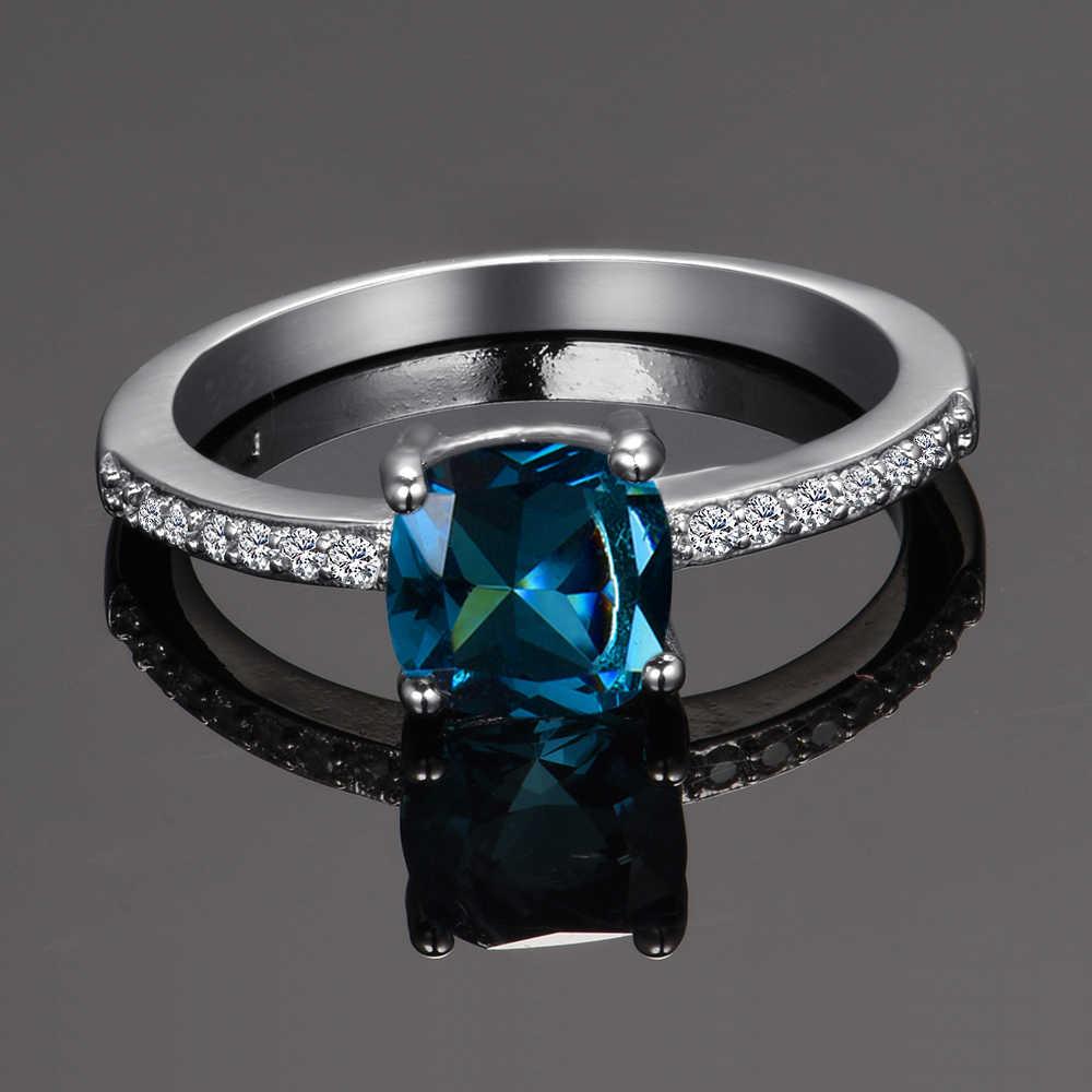 Charms ผู้หญิงงานแต่งงานแหวนนกยูงสีฟ้า Aquamarine แหวน Zircon หมั้นพรรคเครื่องประดับของขวัญ