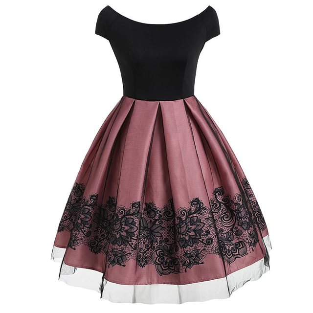 11aa8a6b78a Sisjuly Evening Party White Sweet Pink Midi Long Ball Pleated Dress Women  Black Floral Mesh Lace Plus Size Loose Retro Dresses-in Dresses from Women s  ...