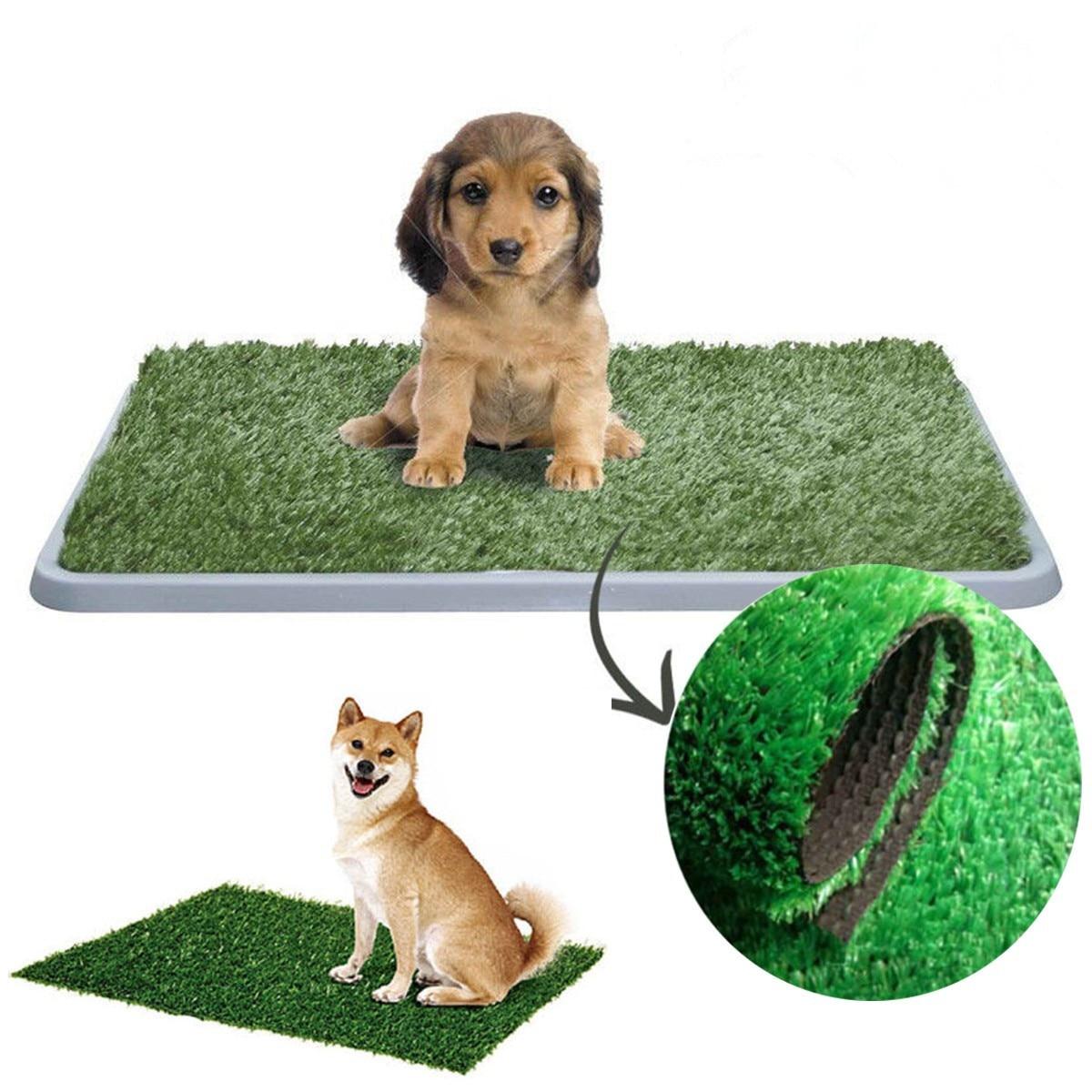 M/L Outdoor Pet Dog Cat Toilet Litter Box Artificial PE Grass Mat Indoor Toilet Potty Trainer Grass Turf Pad Dog Pet Supplie