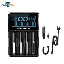 Floureon S4 умное зарядное устройство для Ni-MH AA AAA/li-ion 26650 21700 18650 18490 18350 батарея ЖК-дисплей подзарядка батареи