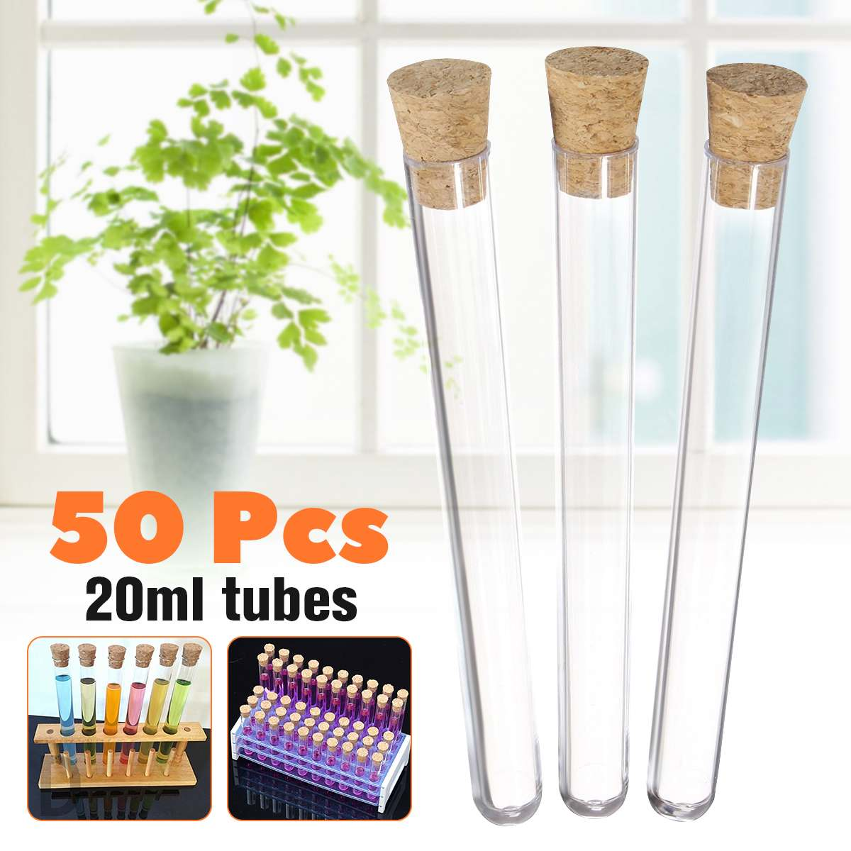 50Pcs 20ml Plastic Test Tubes With Corks Stoppers Clear Like Glass Wedding Favours Party Candy Container Lab Supplies