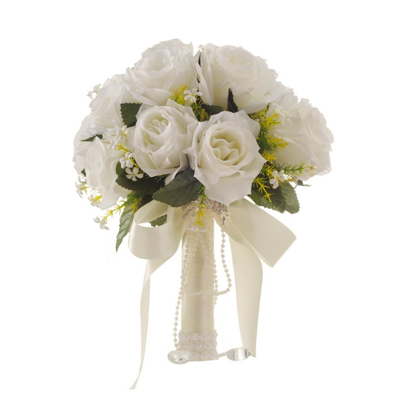 Dressv White Artificial Flower Wedding Bride Holding Flowers Hand bouquet