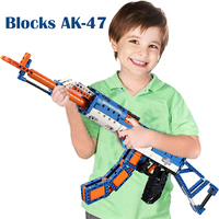 Building Blocks AK 47 Assult Rifle Gun Legoed Compatible Military Bricks Weapon Set Can Fire Rubber Band Toy for Children Boys
