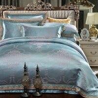 2017 4pcs jacquard silk cotton bedclothes bedding sets queen king size Quilt duvet cover set bedsheets cotton bedcover 28
