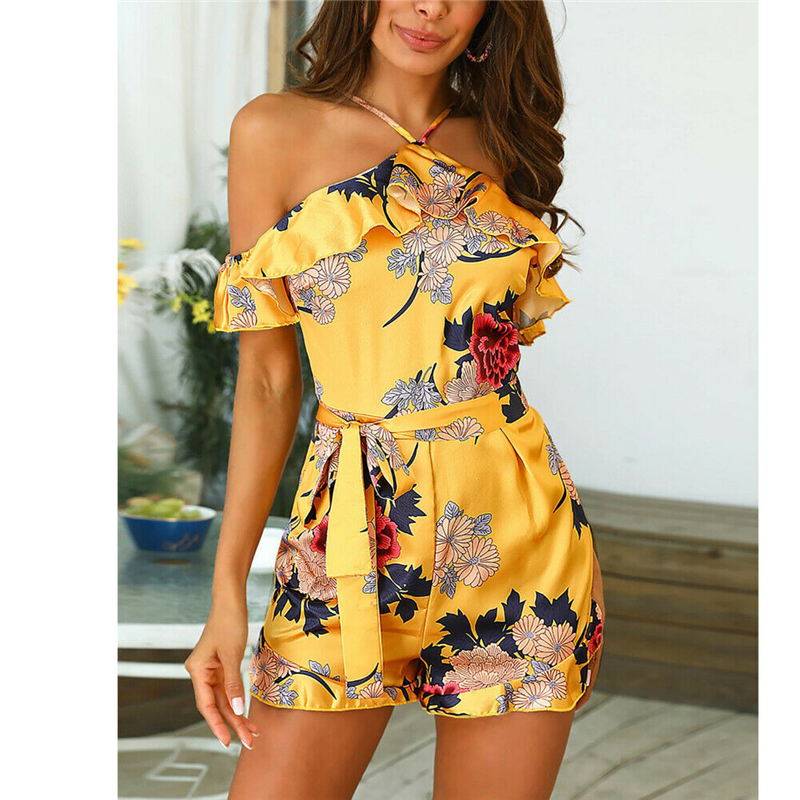 New Fashion Women Summer Jumpsuit Sleeveless Halter Style Ladies High Waist Sexy Floral Printed Playsuit Off Shoulder Trousers
