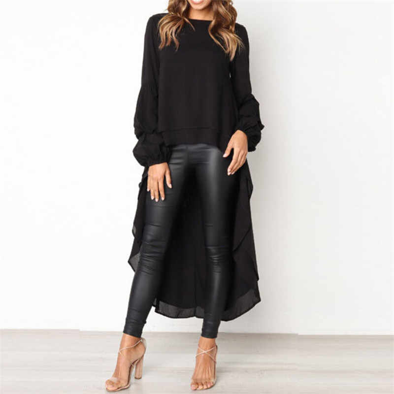 78ce4f17594d Women's Long Sleeve Chiffon Tunic Blouse Autumn Spring Asymmetry Casual Long  Shirt Tops Ladies Solid Color