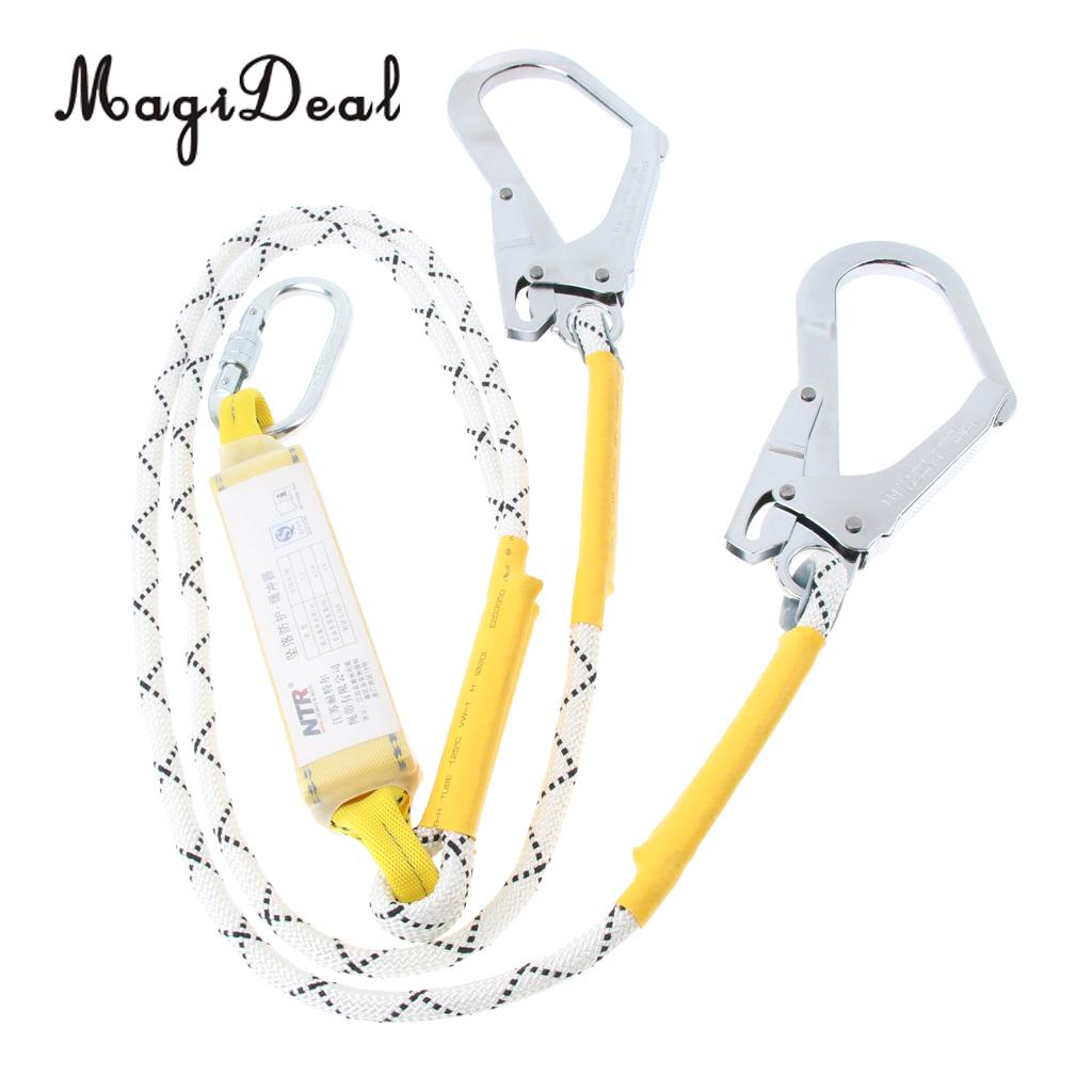 MagiDeal Fall Protection Dual Leg Shock Absorbing Lanyard 1 2m Safety Harness with Carabiners for Rock