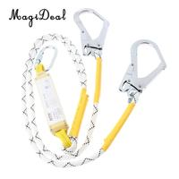 MagiDeal Fall Protection Dual Leg Shock Absorbing Lanyard 1.2m Safety Harness with Carabiners for Rock Climbing Downhill Hiking