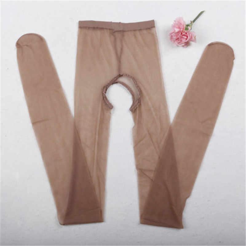 Mulheres Sexy Lingerie Abrir Crotch Crotchless Meia-calça Meias Calças Justas de Fitness Roupa Interior Lingerie Malha Ver Através de Meias Meias