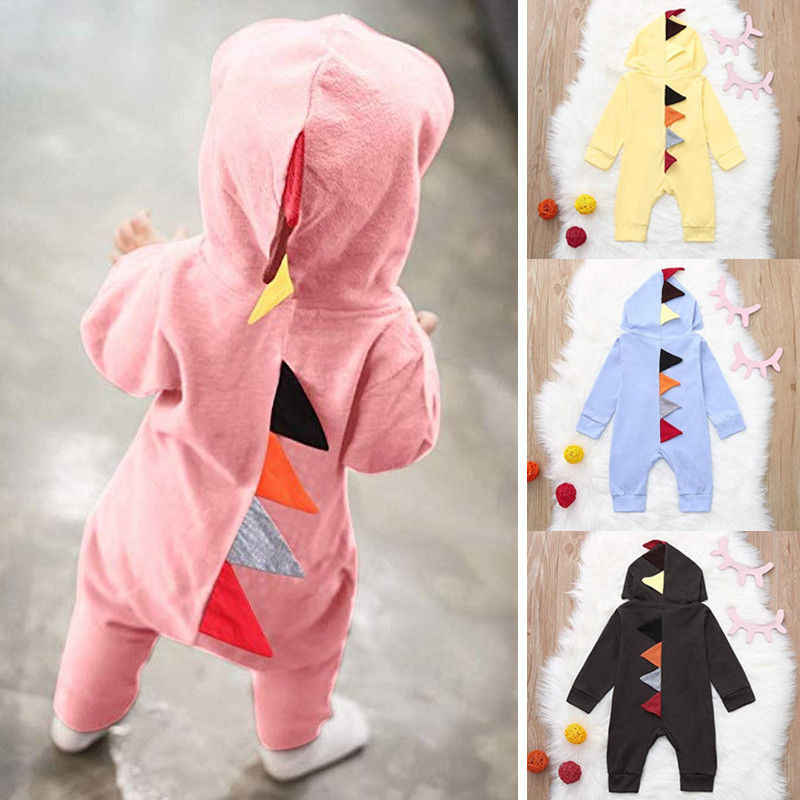 87ae9a8191cb Cute Newborn Baby Boy Girl Dinosaur Romper Costume Infant Toddler Long  Sleeve Zipper Solid Jumpsuit