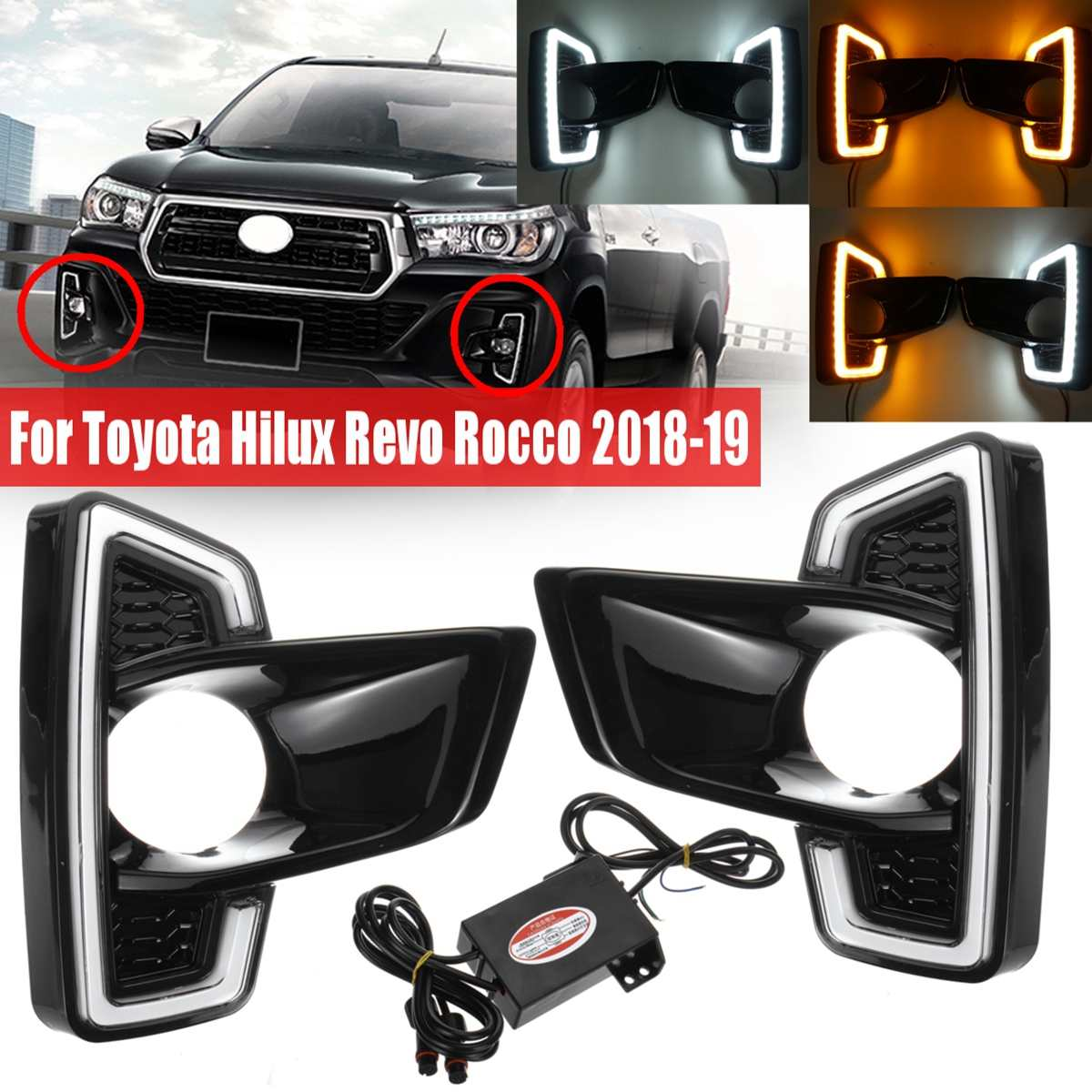 1 Pair Car Front Bumper LED DRL Fog Light Driving Lamp White Yellow Turn Signal For Toyota Hilux Revo Rocco 2018 2019 Styling1 Pair Car Front Bumper LED DRL Fog Light Driving Lamp White Yellow Turn Signal For Toyota Hilux Revo Rocco 2018 2019 Styling