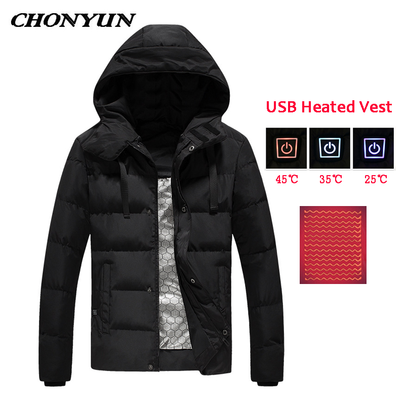 New Winter Heating Jacket Women Men Outdoor Down Jacket USB Charging Electric Heating Warm Jacket Charging High Quality Clothes