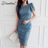 Elegant Women Summer Dress 2019 New Solid Color O Neck Short Sleeve Lace Pencil Dress Vestidos Sexy Party Bodycon Dresses