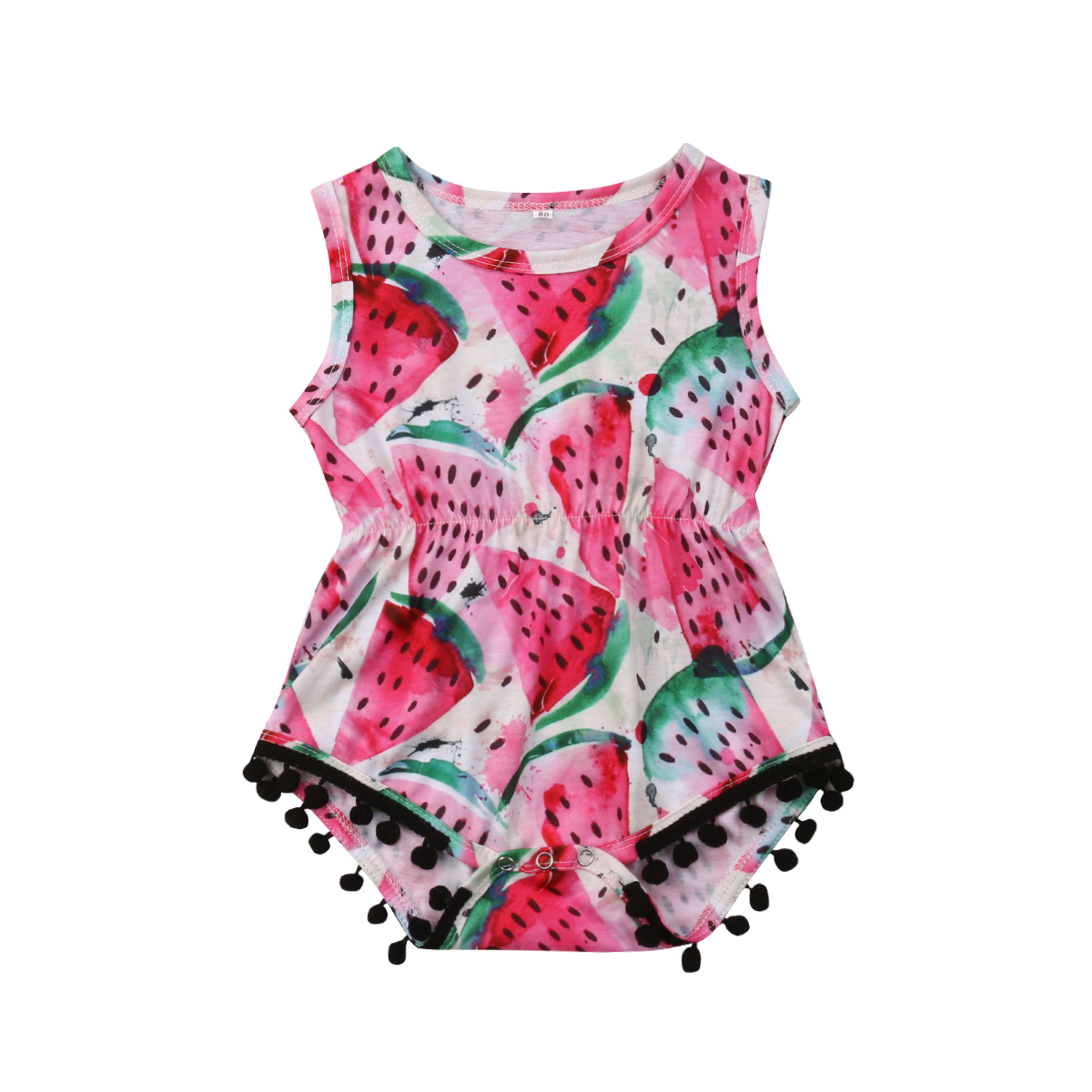 3-18M Infant Newborn Baby Girl Sleeveless Watermelon Print Tassel Ball   Romper   Jumpsuit Outfits Summer Sunsuit Clothes