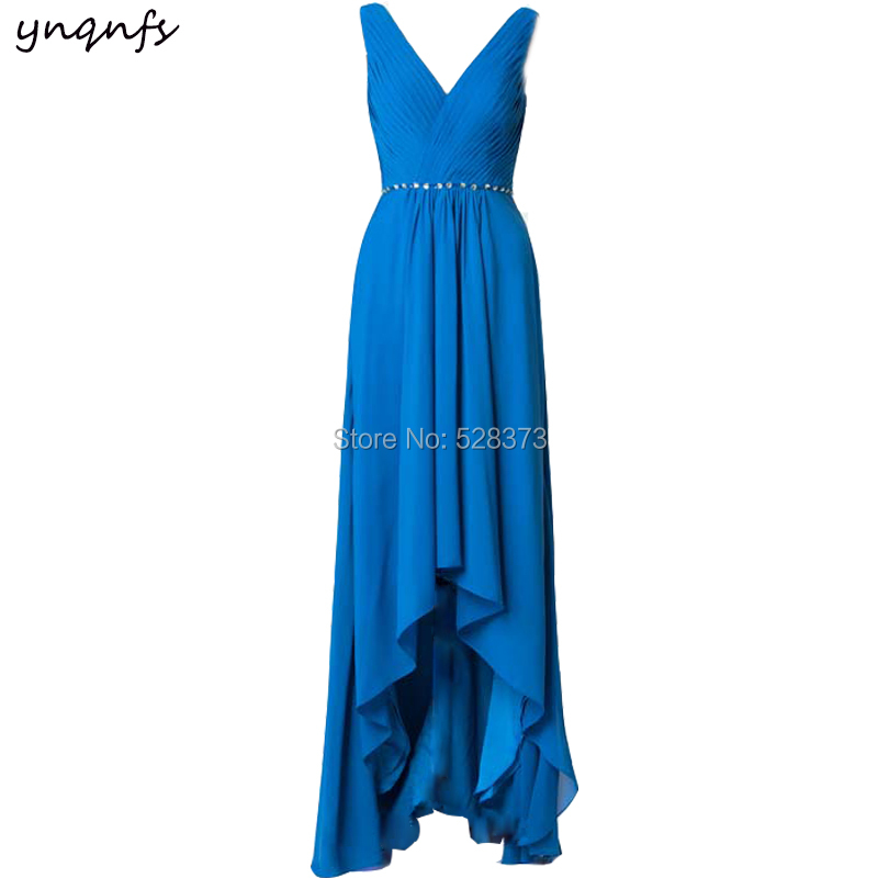 YNQNFS M37 Elegant Chiffon   Dress   for Party Prom Gown Blue High Low Vestido Formal Short Front Long Back   Bridesmaid     Dresses