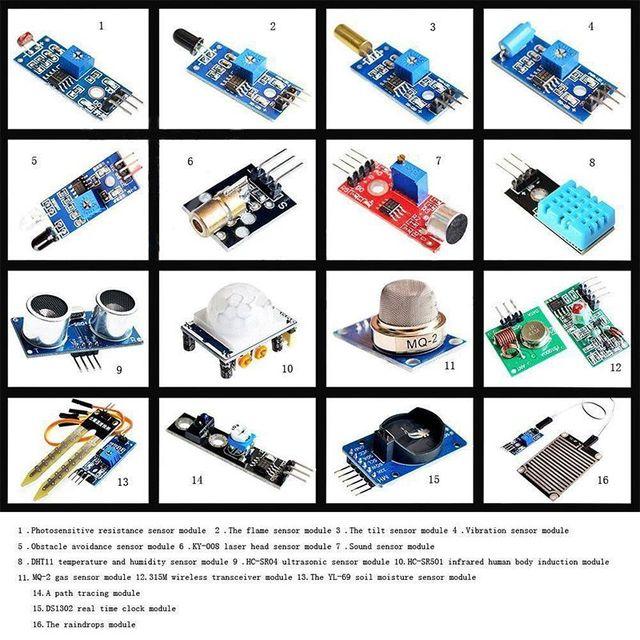 16 in 1 Modules Sensor Kit Project Super Starter Kits for Arduino UNO R3 Mega2560 Mega328 Nano Raspberry Pi 3 2 Model B K62 4