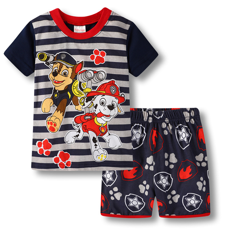 Newest Summer Boy Canine patrol Clothes Set Children T-Shirt Pant Suit Kids Outfit 100% Cotton Tops Panties 2 -7 Year Clothing(China)