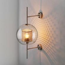 Nordic LED Wall Lights Transparent Glass Shade Scones Lamps Bedroom Bedsides Restaurant Study Hang Loft Iron Fixtures