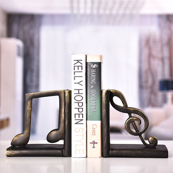 Newest Creative Books Bookends Bookshelf Simple And Elegant music symbol Book Holder