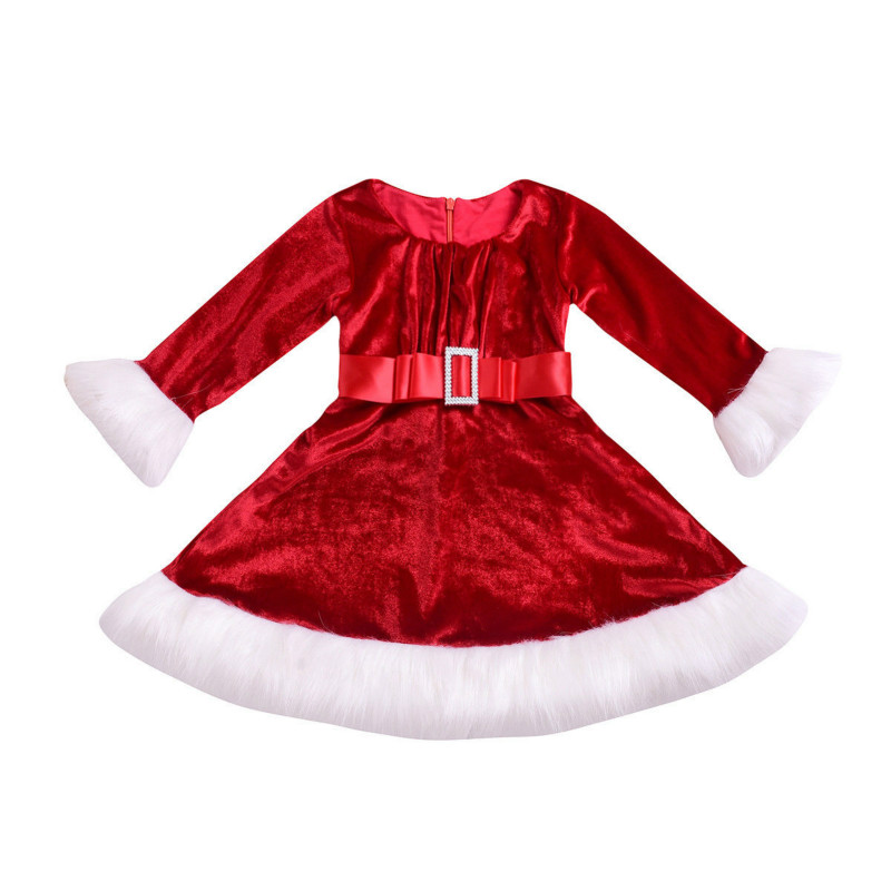 856f2e047f8 Christmas Newborn Toddler Kids Baby Girl Long Sleeve Santa Claus Princess  Girls Party Dress Winter Clothes