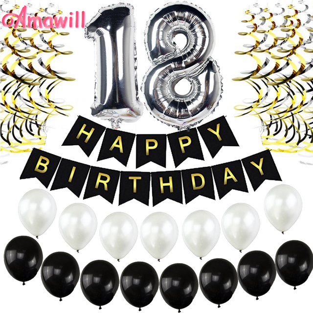 Amawill Perfect 18 Years Old Accessories For Black Happy Birthday Banner Foil Latex Balloons Celebrate 18th Party Decorations 8D