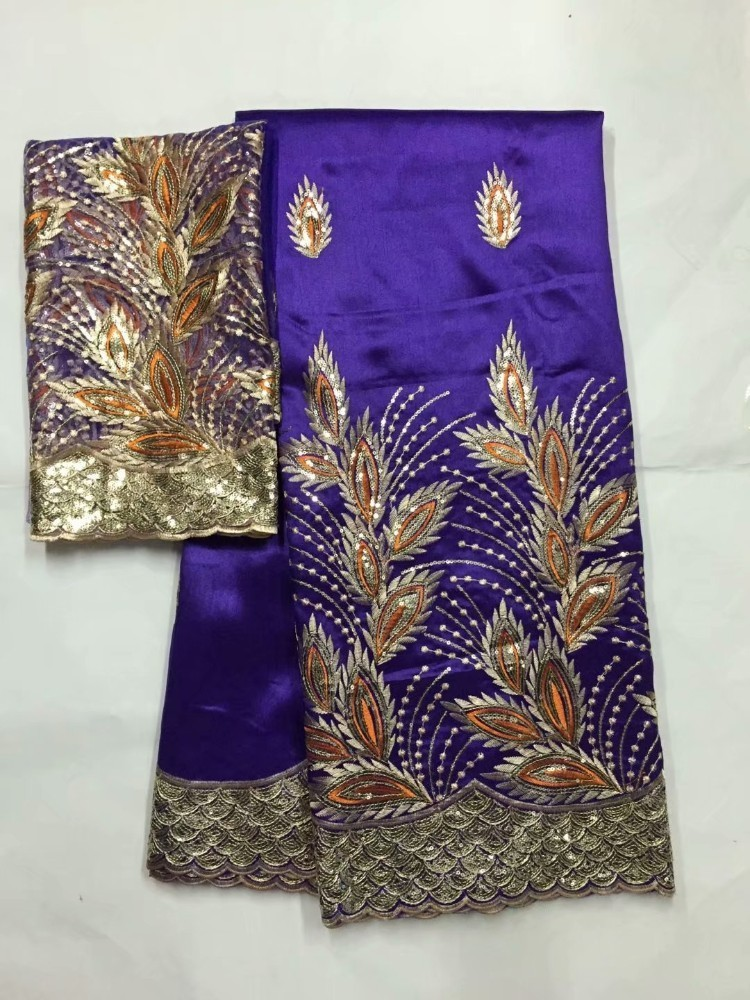 Image 5 - African George Fabric High Quality Indian Raw Silk George  Wrappers Hot Nigerian Lace Fabrics Set with Blouse for Wedding  5 2yardLace