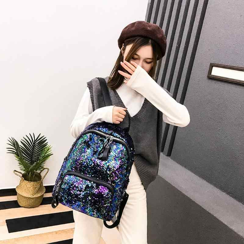 013bb391dc 2019 Shining Sequins Backpack Women backpack school for girl Travel Large  Capacity Bags Party Bags Glitter Backpack Mochila