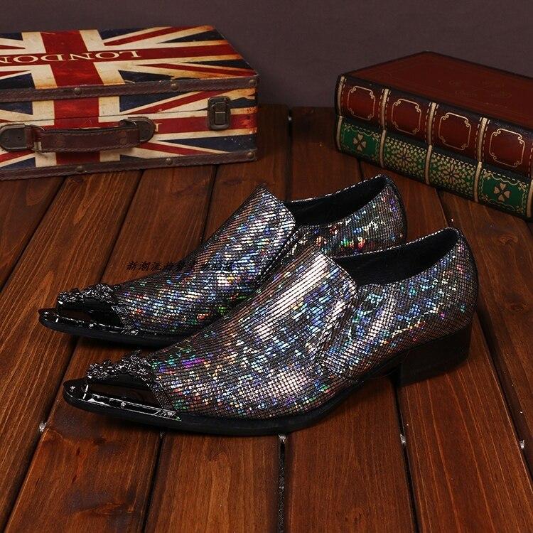 2018 brillant mixte couleur métallique hommes bout pointu chaussures italiennes hommes chaussures marques Oxford formel peau de serpent chaussures pour hommes
