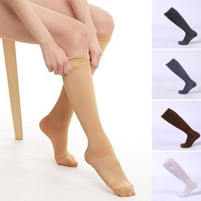 Unisex Knee High Graduated Compression Socks Varicose Veins Nylon Pressure Leg Relief Pain Socks For Women Man