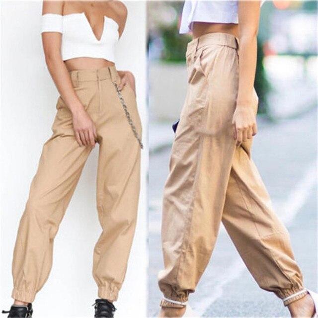 2019 Women's Harem Cargo Trousers Cotton Pants Solid Punk Loose Long Sports Fashion Climbing Easy Mountain Climbing Trousers