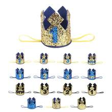 New Gold Boy First Birthday Hat Glitter Princess Crown Number 1st 2 3 Year Old Party