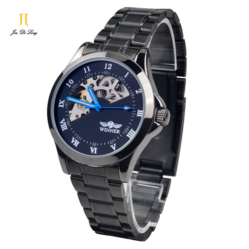 ? Men Business Casual Watch Self-wind Auto Mechanical Analog Wristwatch Alloy Band Stainless Steel Case Skeleton Watches deluxe ailuo men auto self wind mechanical analog pointer 5atm waterproof rhinestone business watch sapphire crystal wristwatch