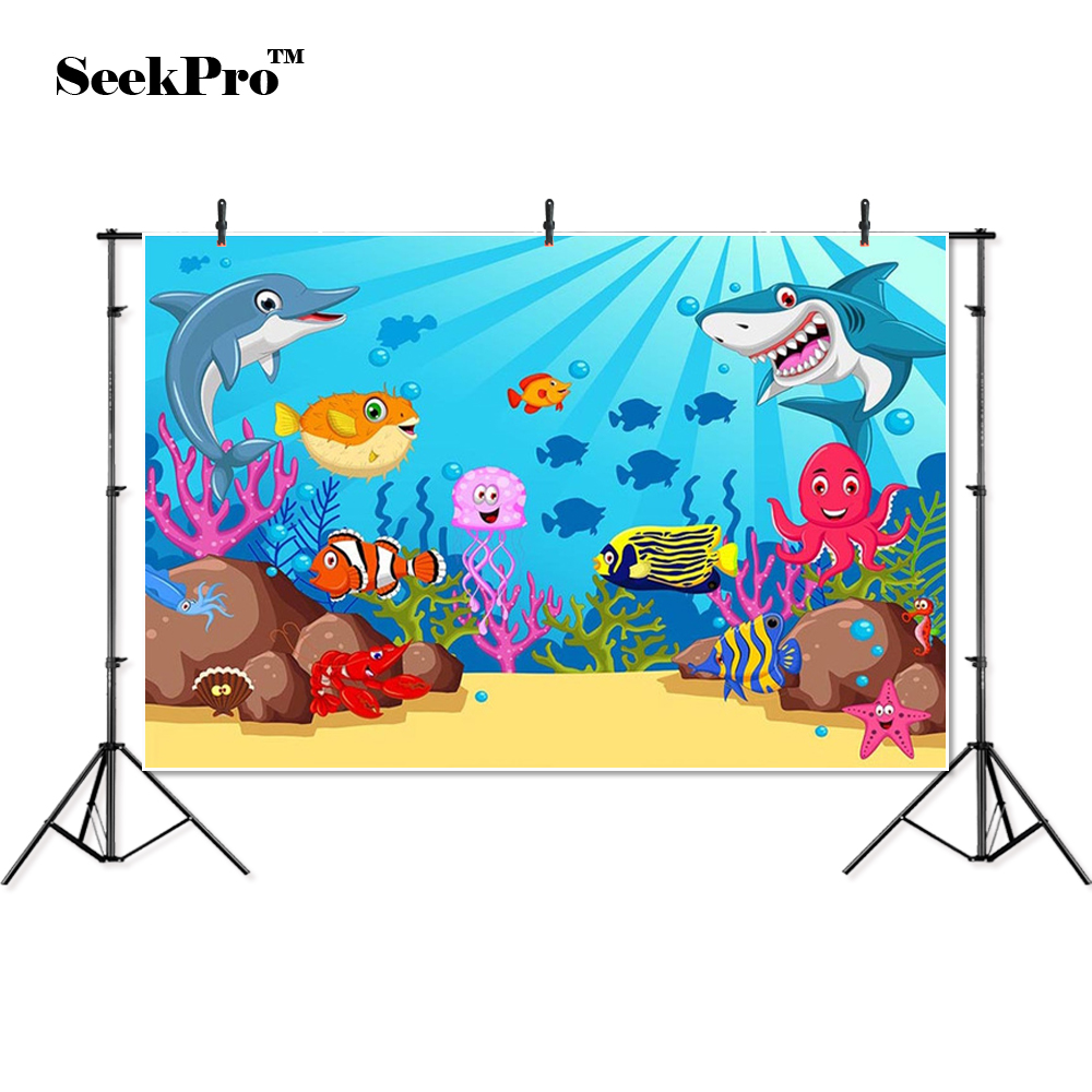 Us 8 57 34 Off Seekpro Seaworld Fishes Children Kids Birthday Banner Photo Background Printed Studio Professional Indoor Photographic Backdrops In