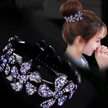 Horquillas con flor para cabello con diamantes de imitación a la moda Clips con flores elegantes caladas elegante cristal giro redondo horquilla accesorios para el cabello