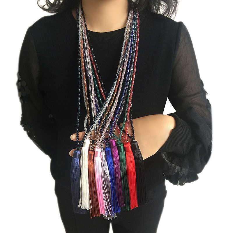 Długi frędzel Tassel Crystal spódnica dziewczyny naszyjnik 1PC unikalny wdzięku Boho ze szklanymi koralikami 10 kolorów sweter New Arrival