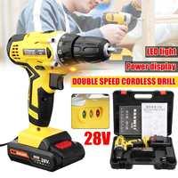 28V Electric Cordless Drill Driver Screwdriver Li Ion Battery LED Light 2 Speed