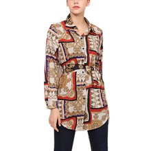 MYTL-Women Fashion Lapel Long Sleeve Vintage Personality Print Shirt Blouse Ladies Casual OL Muslim Tops With Belt