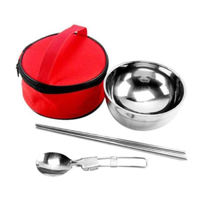 Stainless Steel Folding Spoon Chopsticks Double Layer Insulated Bowl Outdoor Camping Portable Bowl Bag