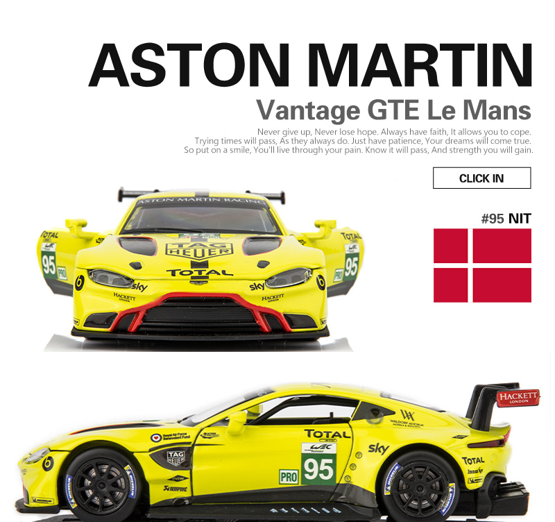 1:32 Scale/Diecast Metal Toy Model/Aston Martin Vantage GTE Le Mans/Sound & Light Racing Car/Pull Back Educational Collection