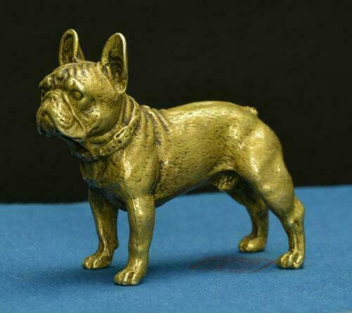 Exquisite Chinese Old Bronze Handmade Carved lovely dog Statue hand piece