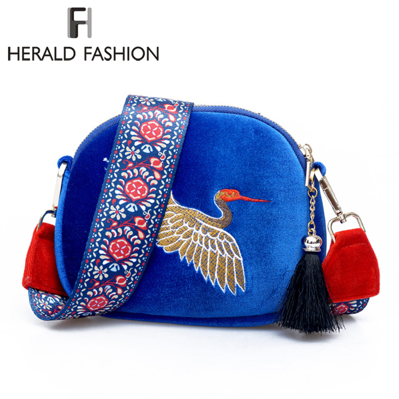 herald-fashion-girl-mini-shell-shouder-bag-velvet-tassel-clutch-bag-embroidered-cranes-birds-with-wide-strap-handbag-for-women