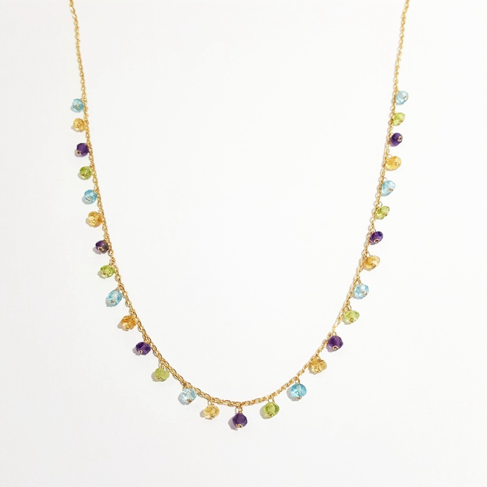 LiiJi améthyste Citrines Topazs péridots chaîne collier pierre naturelle 925 argent Sterling couleur or fait à la main délicat collier
