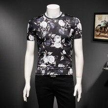 Summer T Shirt Men Ice O-Neck Short Sleeve Casual Slim Fit T-shirt Mens Fancy Club Tshirt Flower Print Tops Ropa Hombre De Marca