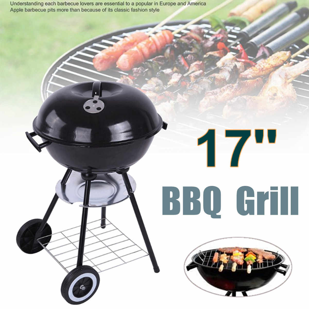 Carrito de 17 ''barbacoa de carbón de Metal parrilla Pit al aire libre Camping cocina de jardín herramientas de barbacoa accesorios de barbacoa herramientas de cocina