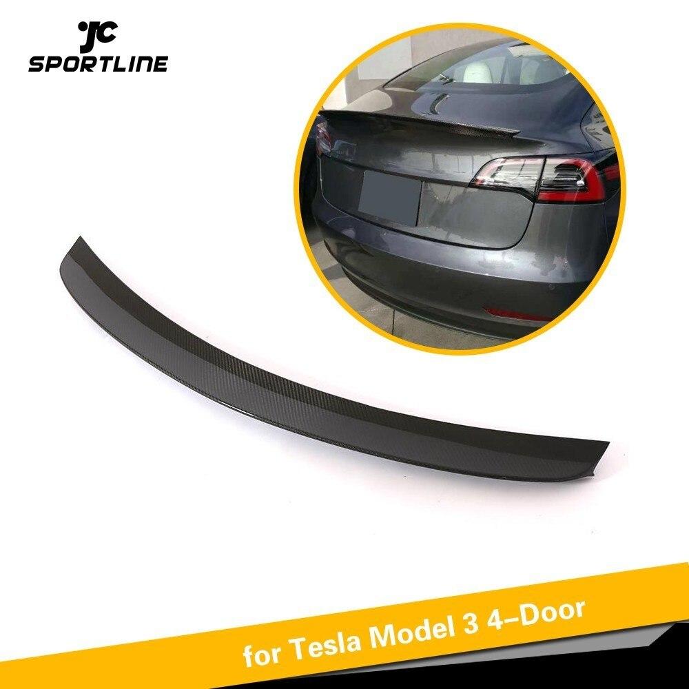 Pour Tesla Modèle 3 2016 2017 2018 Arrière de Voiture Tronc Boot Lip Spoiler En Fiber De Carbone Fiber De Carbone