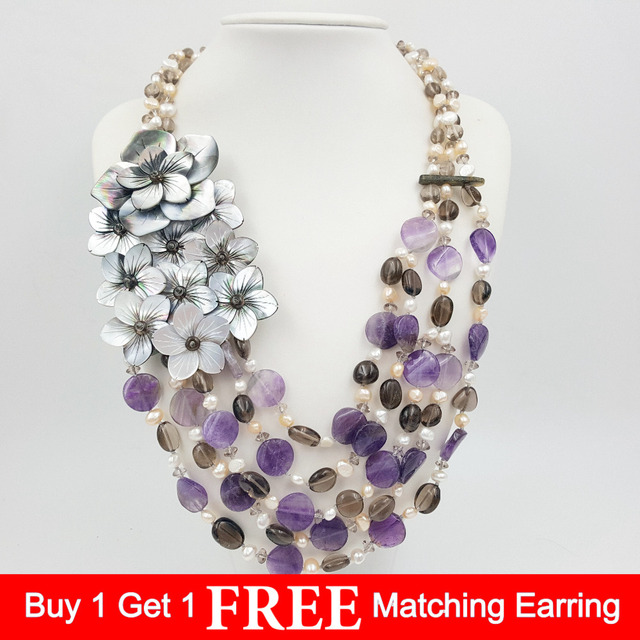 LiiJi Unique Natural Stone Amethysta,Smoky Quartzs,Freshwater Pearl,Shell Flowers Handmade Statement Necklace Fashion Jewelry