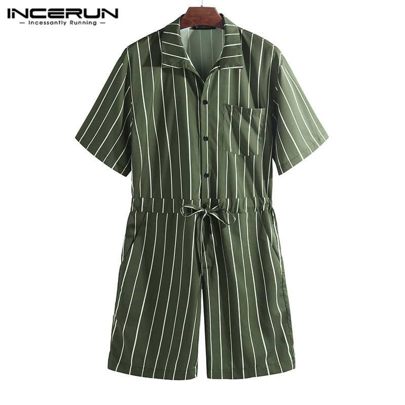 INCERUN 2020 Men Jumpsuit Striped Rompers Loose Shortsleeve Pockets Fashion Pants Hip-hop Men Overalls Playsuit Streetwear S-5XL
