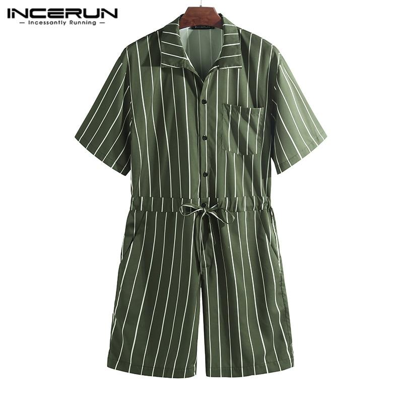 INCERUN 2020 Men Jumpsuit Striped Rompers Loose Shortsleeve Pockets Fashion Pants Hip-hop Men Overalls Playsuit Streetwear S-5XL