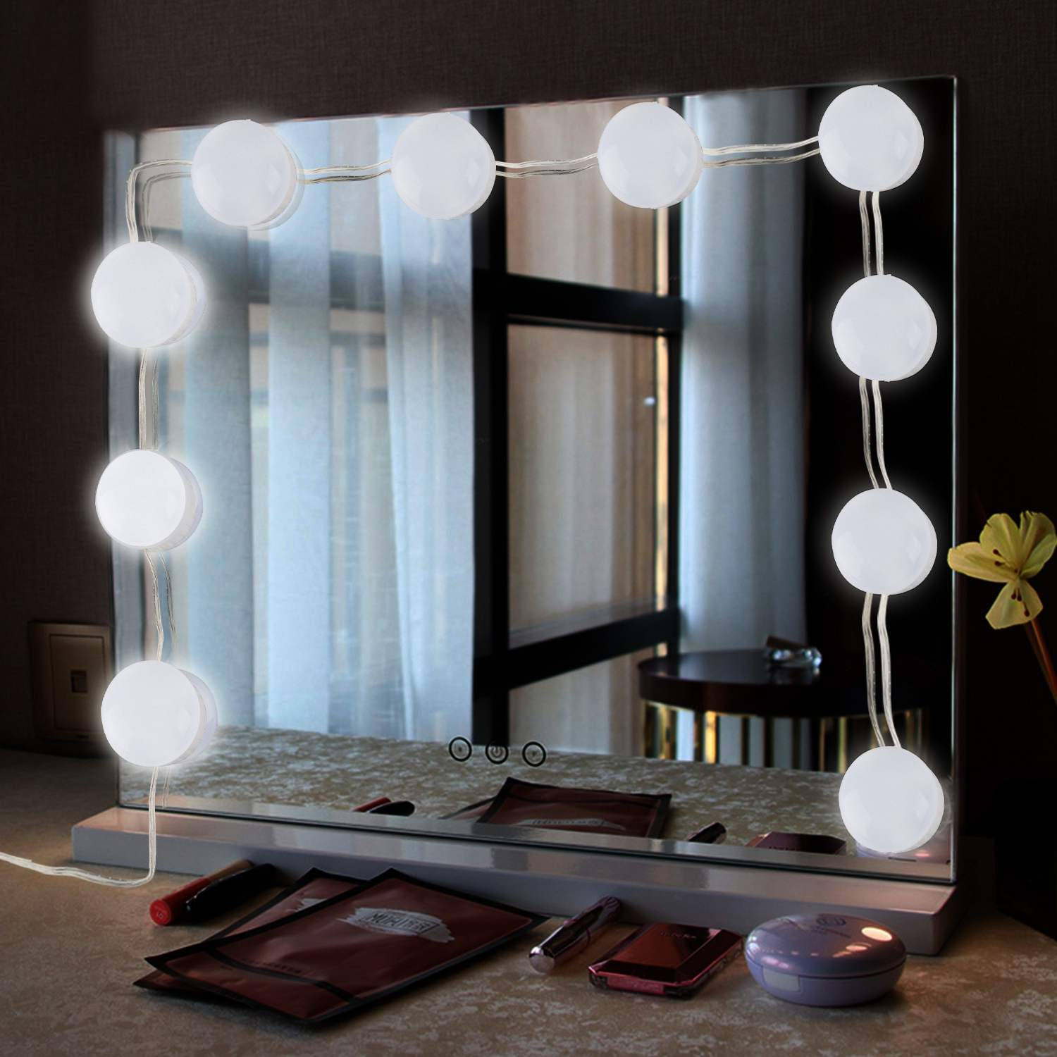 Portable 10 Led Vanity Makeup Mirror Lights Kit With ...